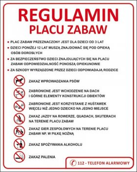 Regulamin Placu Zabaw